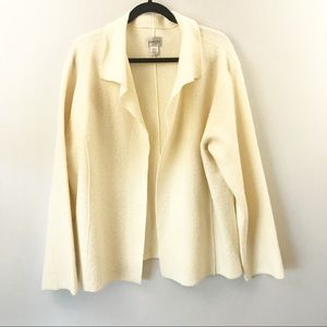 Chico's 3 Cream Wool Open Front Collared Cardigan